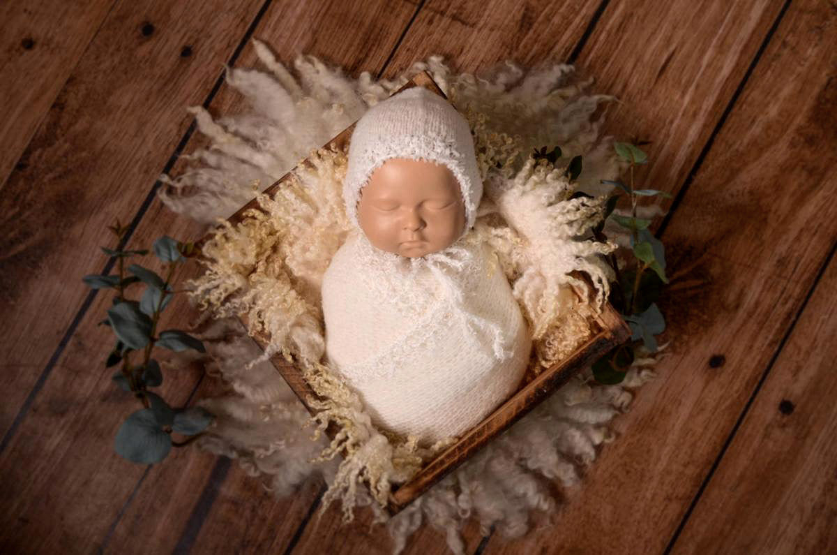 SET Fantasy Mohair Bonnet and Wrap - White-Newborn Photography Props