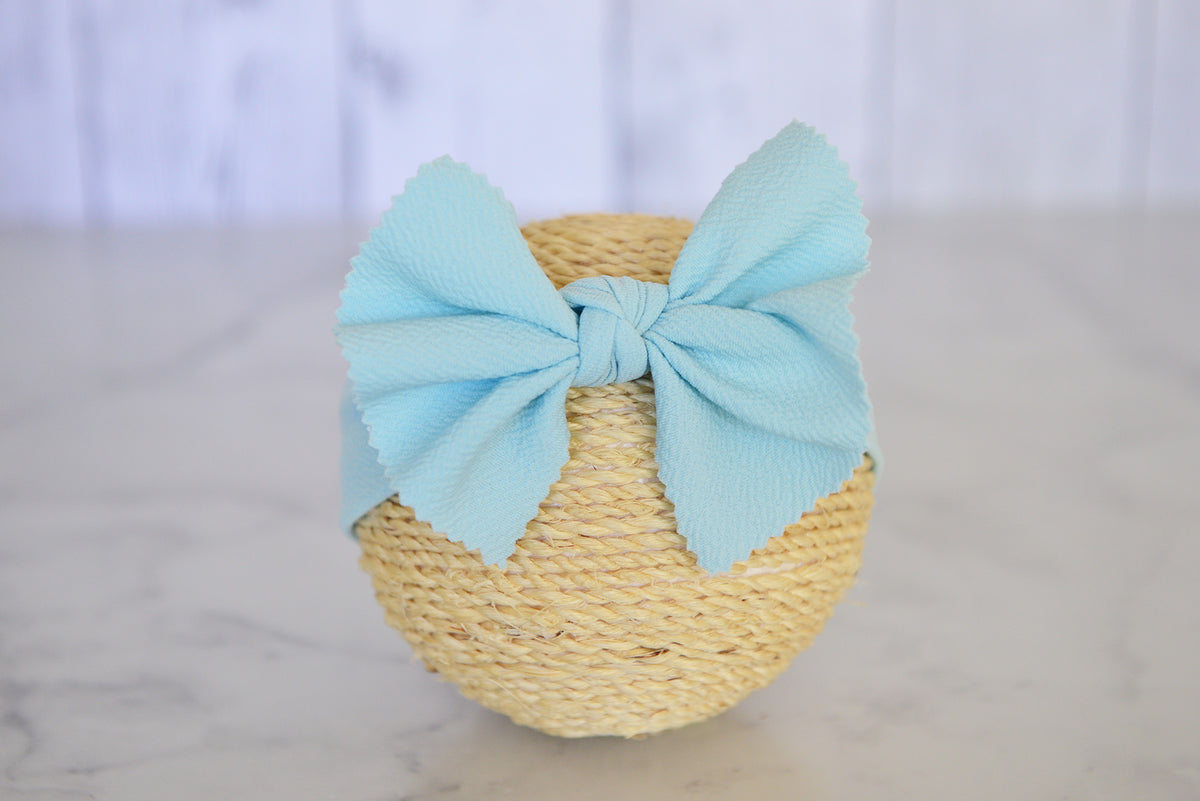 Bow Headband - Textured - Sky Blue