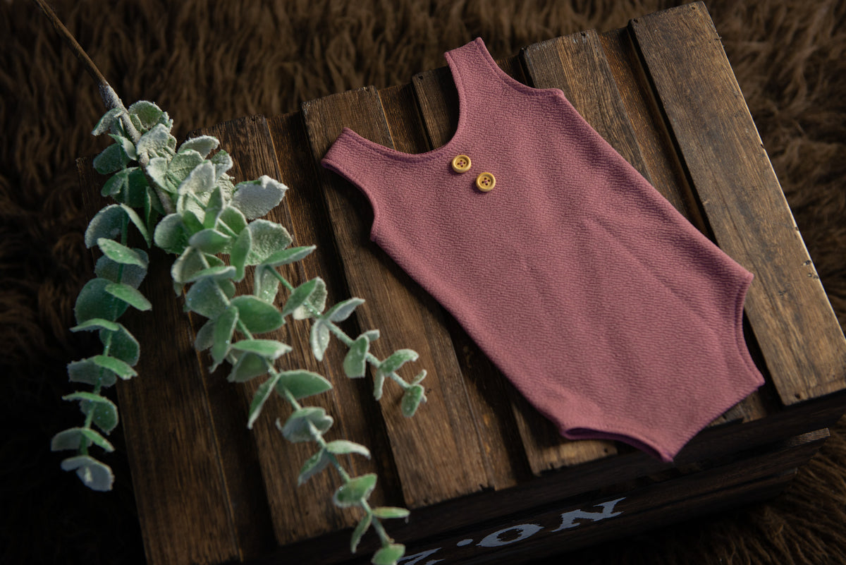 Sleeveless Stitch Romper - Textured - Mauve