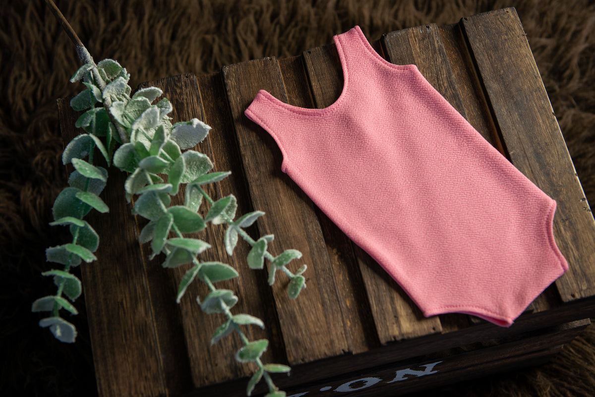 Sleeveless Stitch Romper - Textured - Rose