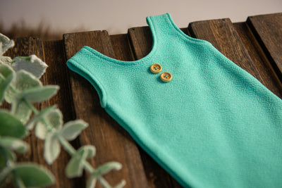 Sleeveless Stitch Romper - Textured - Mint