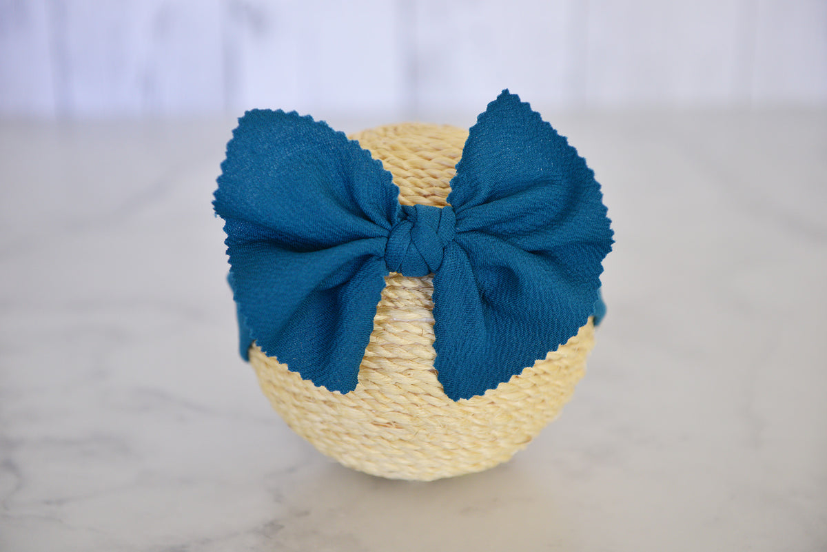 Bow Headband - Textured - Teal