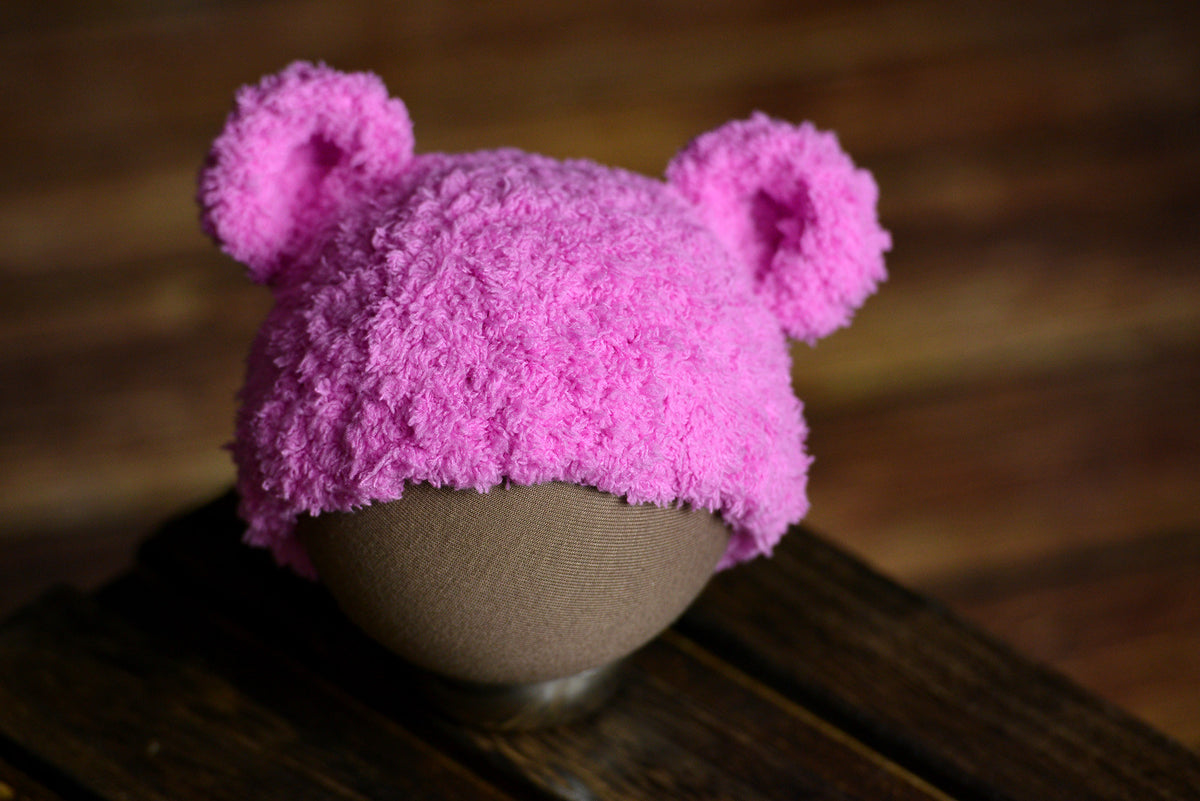 Teddy Bear Hat - Fuchsia-Newborn Photography Props