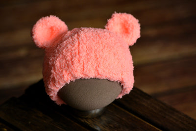 Teddy Bear Hat - Salmon-Newborn Photography Props
