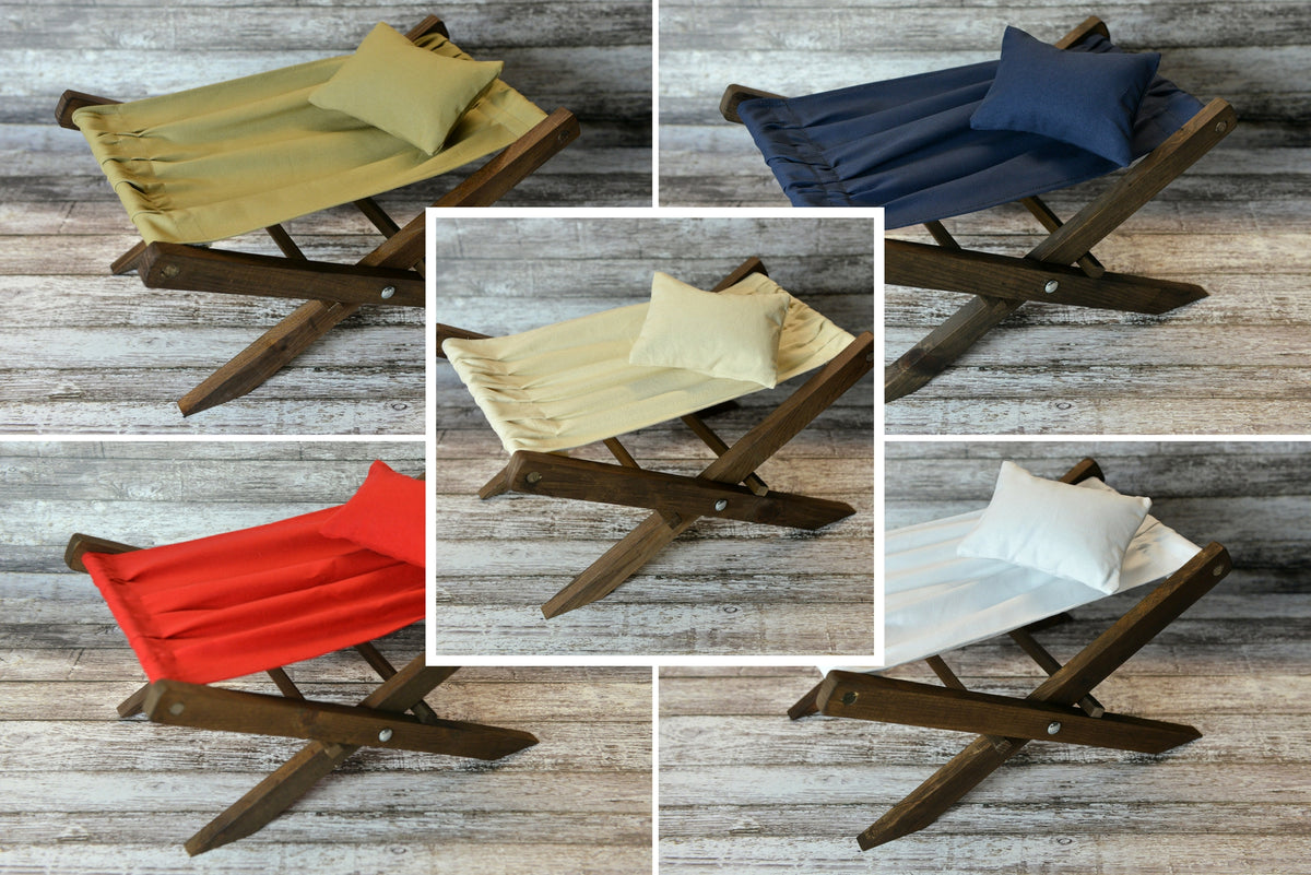 Rustic Deck Chair AND Matching Pillow - 5 Colors - Interchangeable-Newborn Photography Props