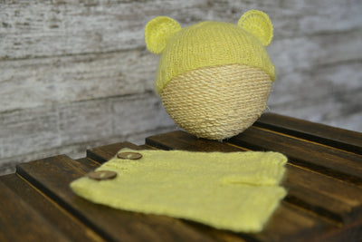 Mohair Bear Bonnet and Pant for newborn photography