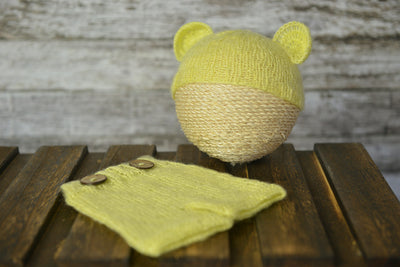 Mohair Bear Bonnet and Pant for baby photography