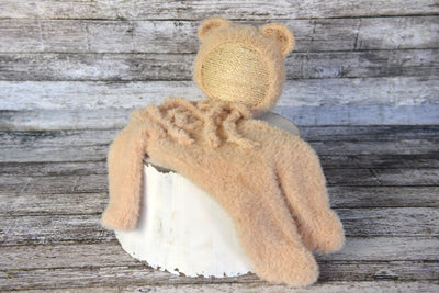 Bear Bonnet and Suit for newborn photography
