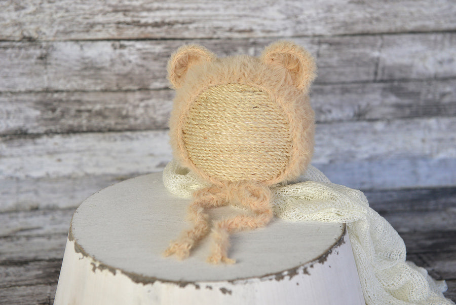 SET Bear Bonnet and Suit - Beige