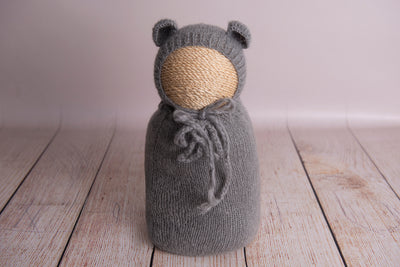 SET Mohair Bear Bonnet and Sack - Gray