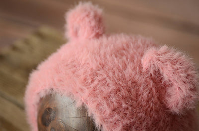 Bear Bonnet - Pink-Newborn Photography Props