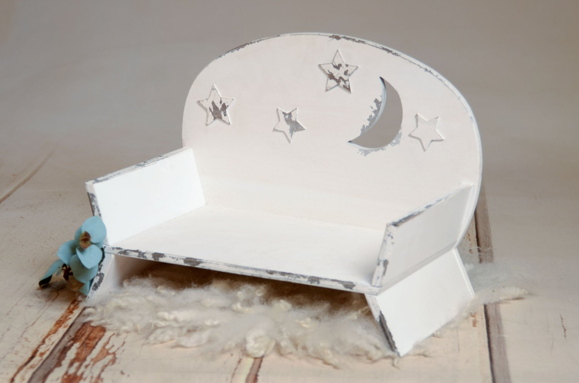 Bench Seat - Moon and Stars - White