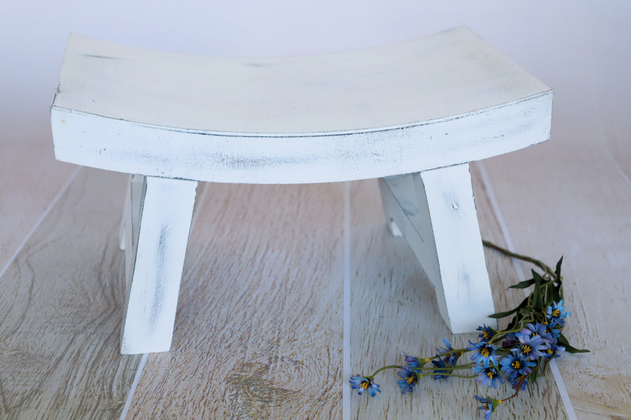 Curved Vintage Bench - Model 2 - White