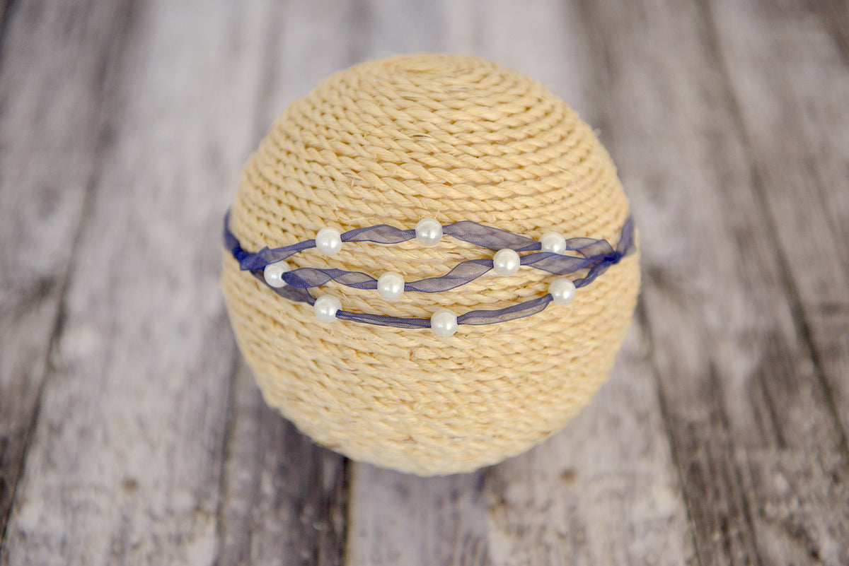Beaded Ribbon Headband - Navy Blue