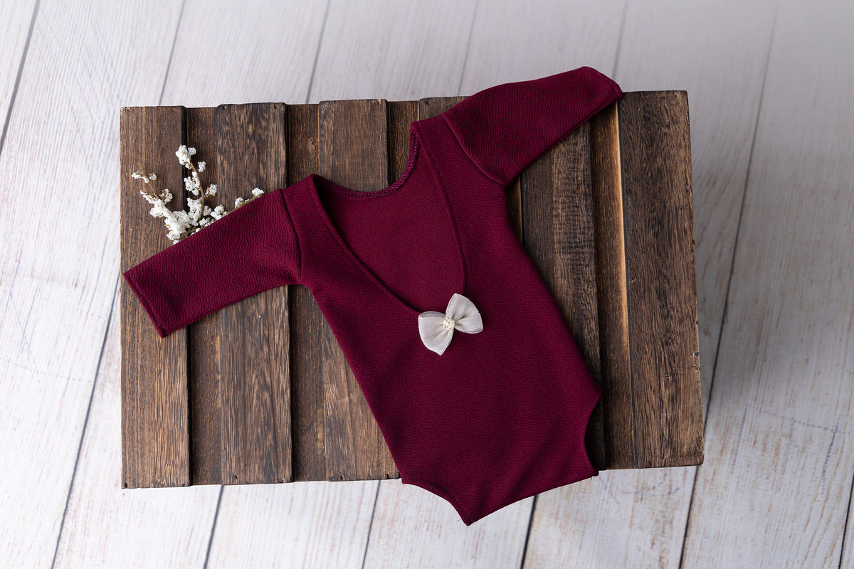 Bodysuit with Bow - Textured - Burgundy