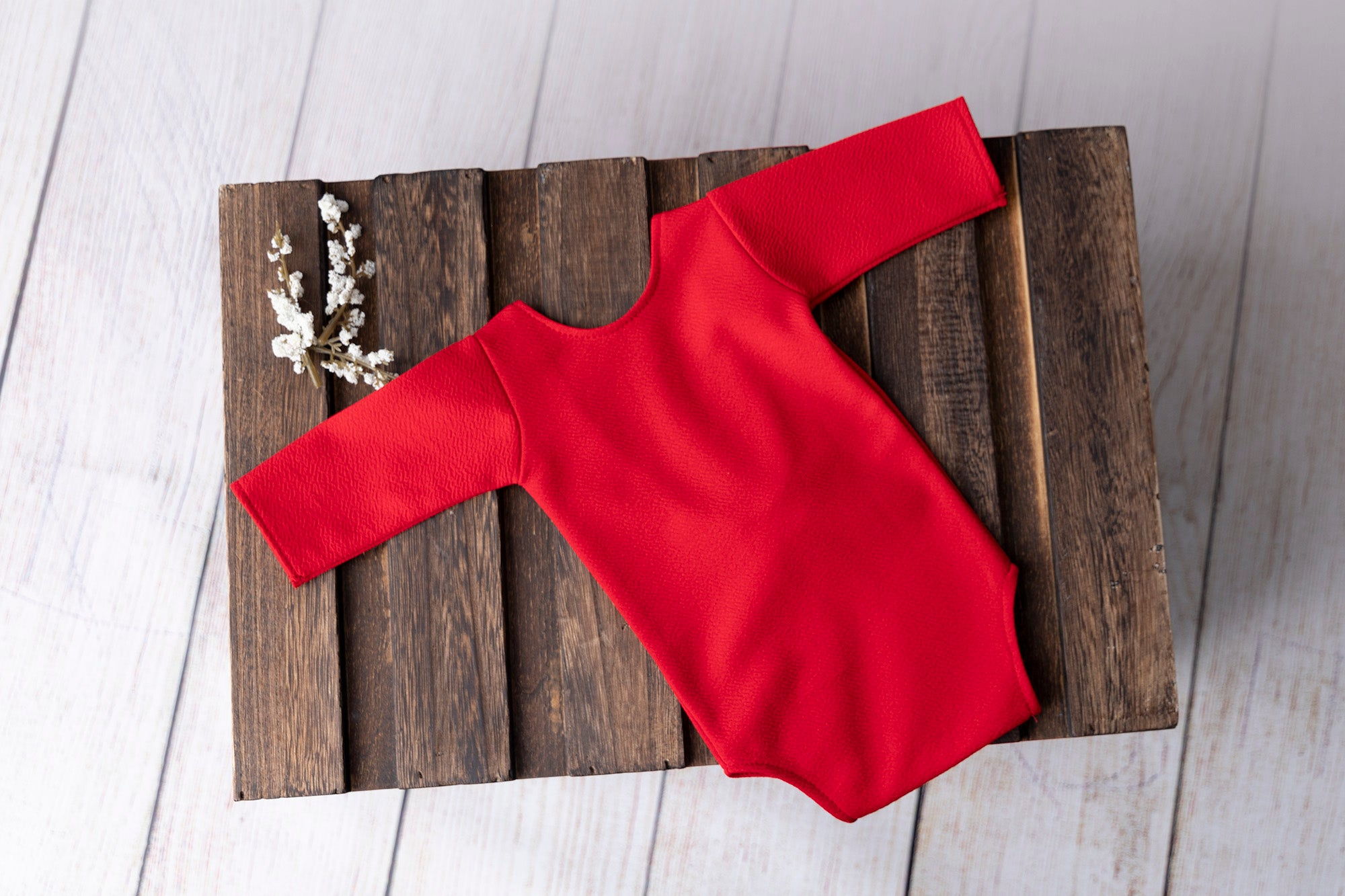 Bodysuit with Bow - Textured - Red