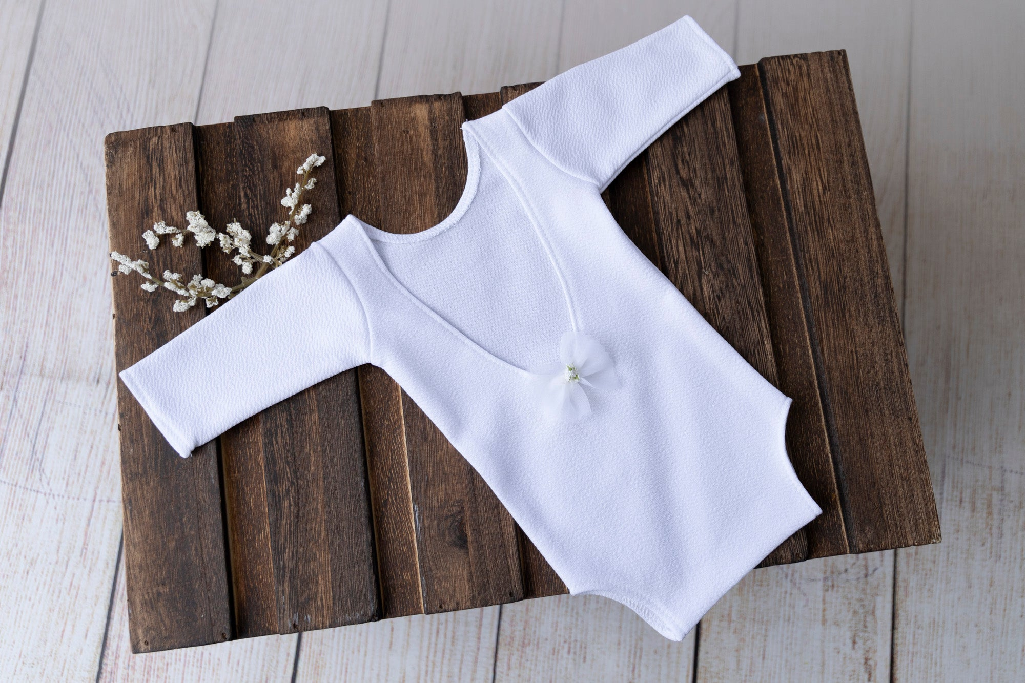 Bodysuit with Bow - Textured - White
