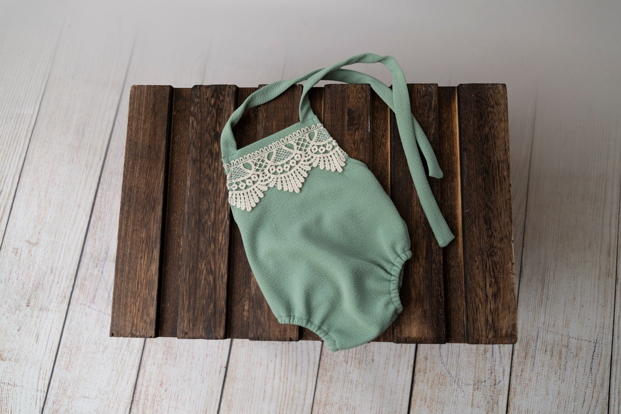 Bohemian Stitch Romper with Lace - Textured - Light Olive