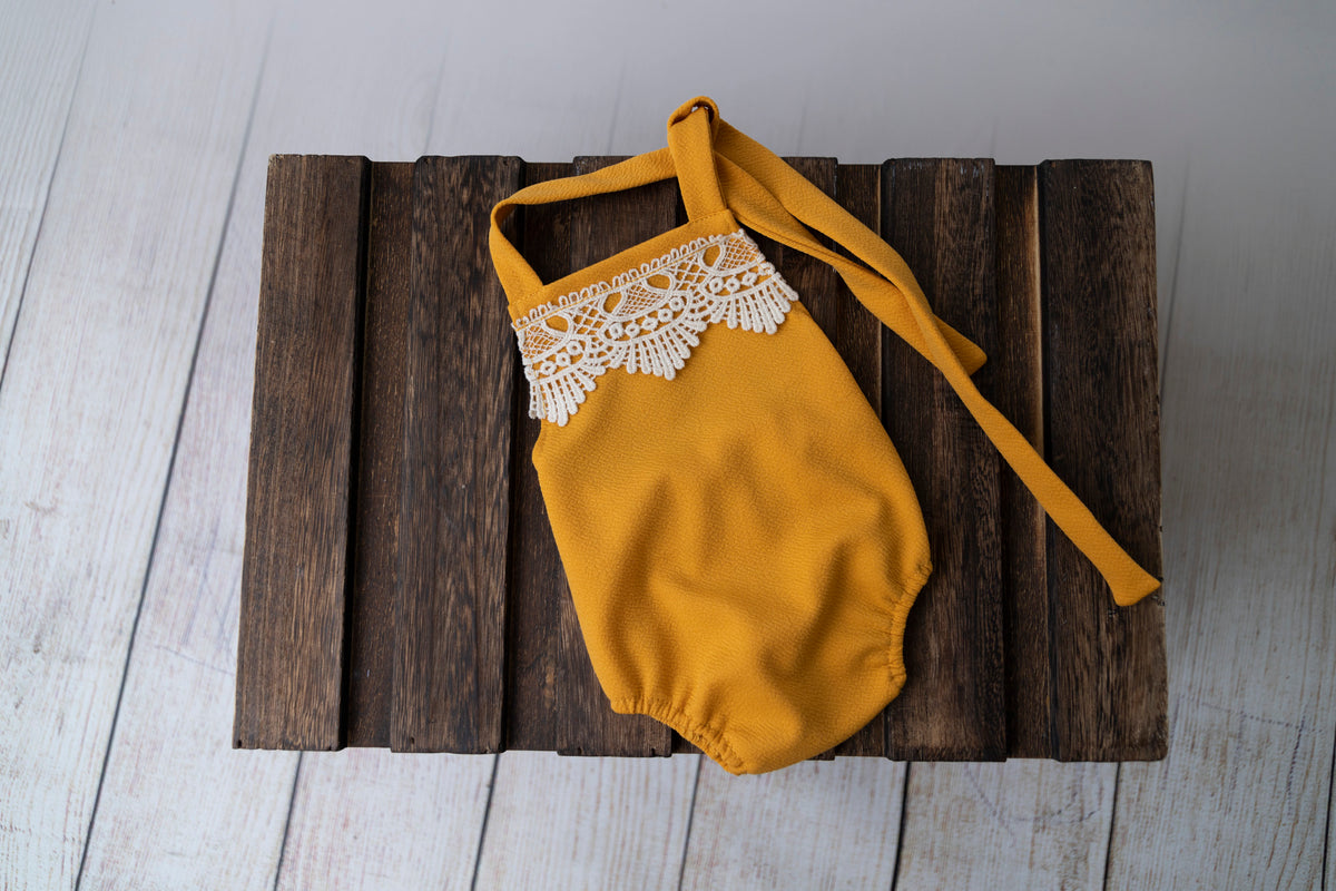 Bohemian Stitch Romper with Lace - Textured - Mustard