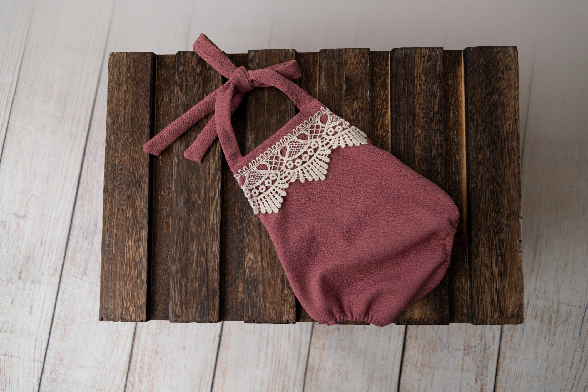 Bohemian Stitch Romper with Lace - Textured - Mauve