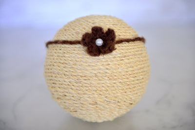 Mohair Flower Headband - Brown