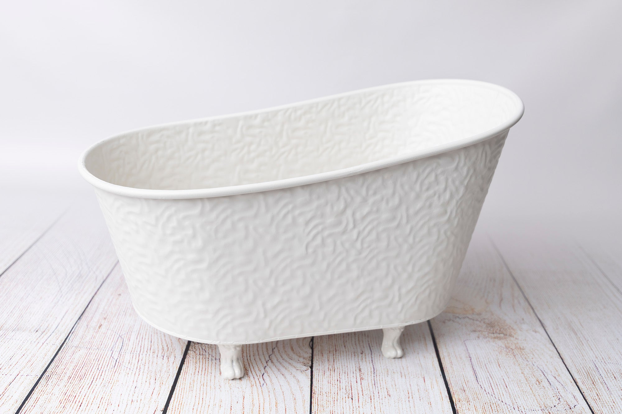 Footed Vintage Bathtub - Bumpy Textured - White - Model 2