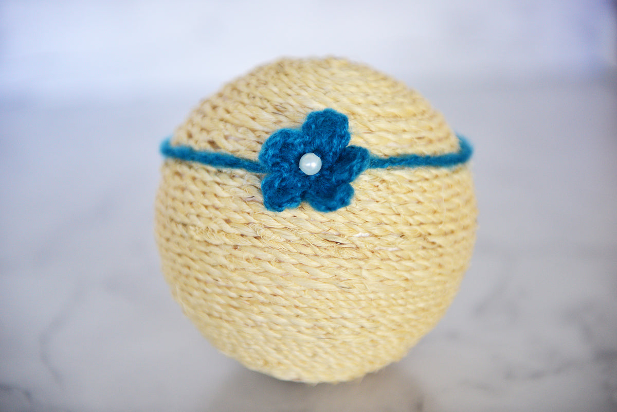 Mohair Flower Headband - Chatams Blue