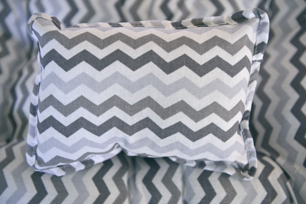 SET Mattress and Pillow - Multi Gray Chevron-Newborn Photography Props