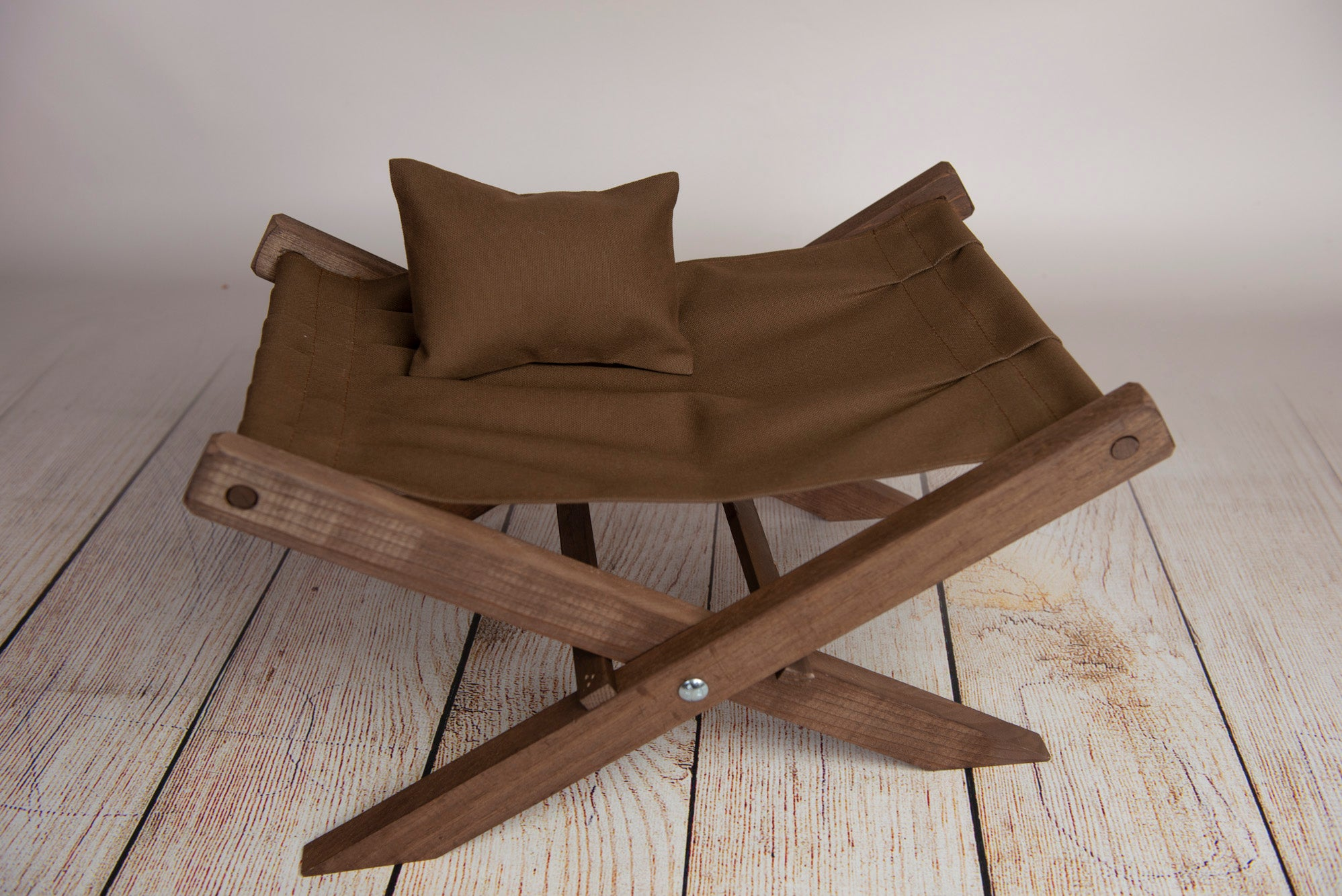 Rustic Deck Chair with Interchangeable Canvas AND Matching Pillow - Brown (DISCONTINUED)