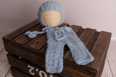 SET Mohair Pants and Bonnet with Knotted Ties - Cloud