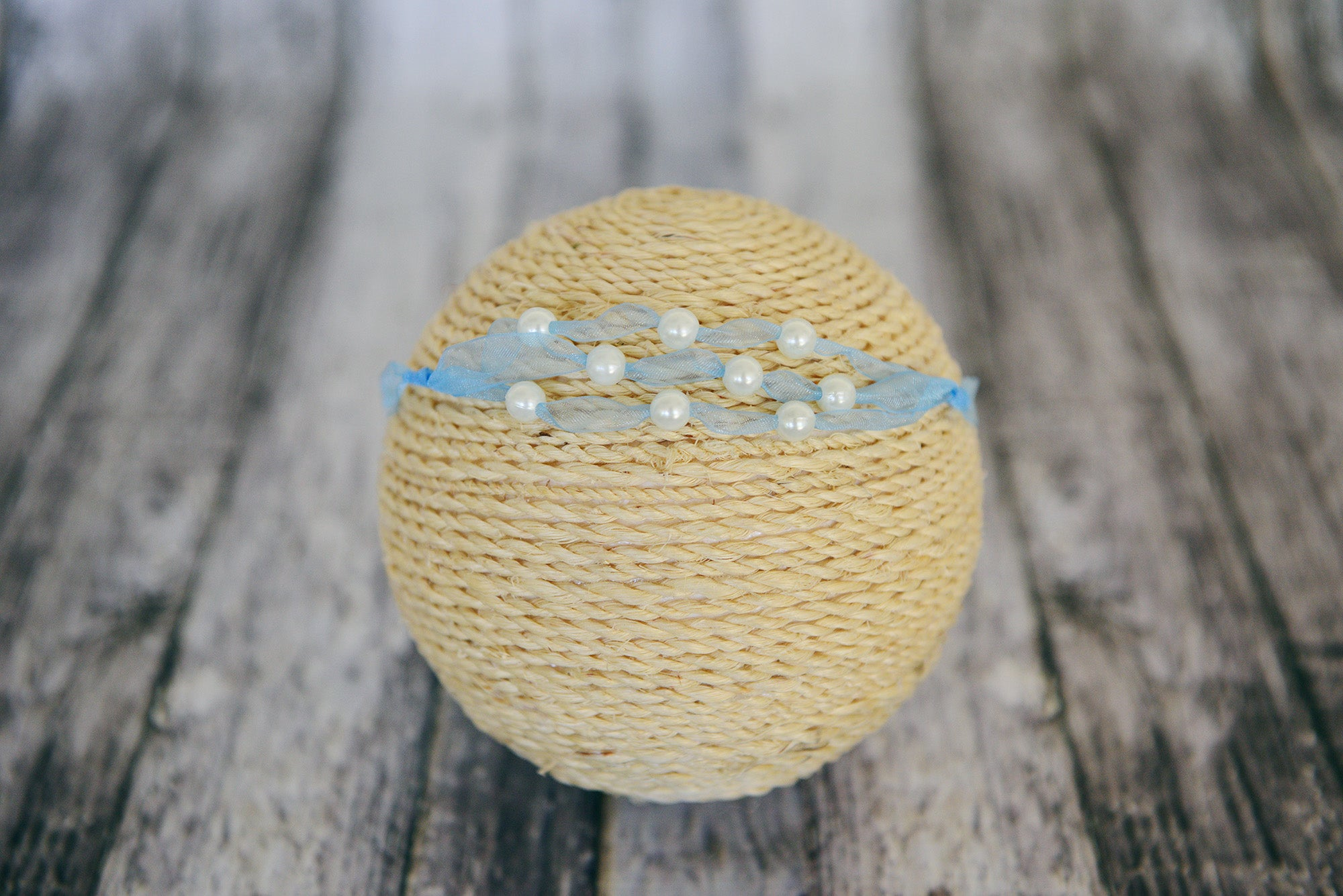 Beaded Ribbon Headband - Cloud