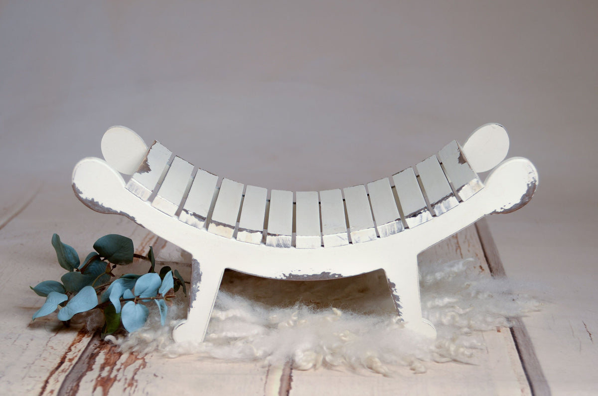 Curved Vintage Bench - Model 4 - White