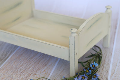 Rustic Bed - Curved Headboard - Cream