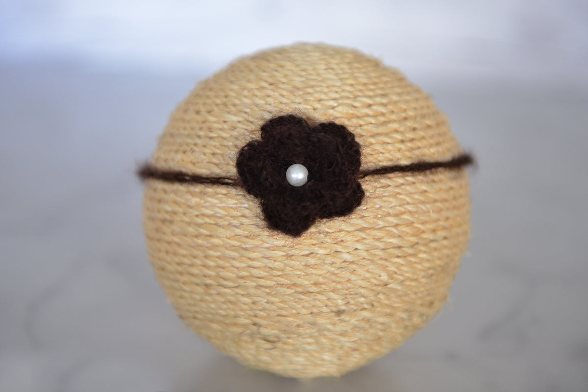 Mohair Flower Headband - Dark Brown