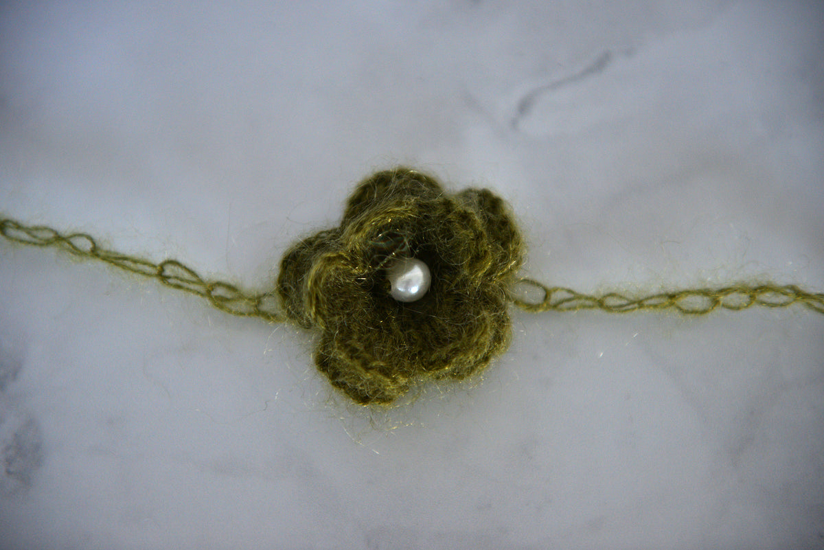 Mohair Flower Headband - Dark Olive