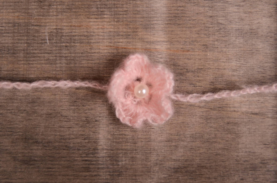 Mohair Flower Headband - Light Pink