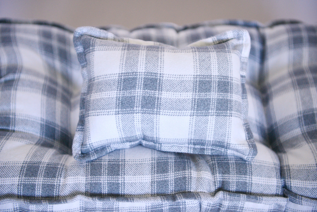 SET Mattress and Pillow - Flannel Gray Checkered Plaid