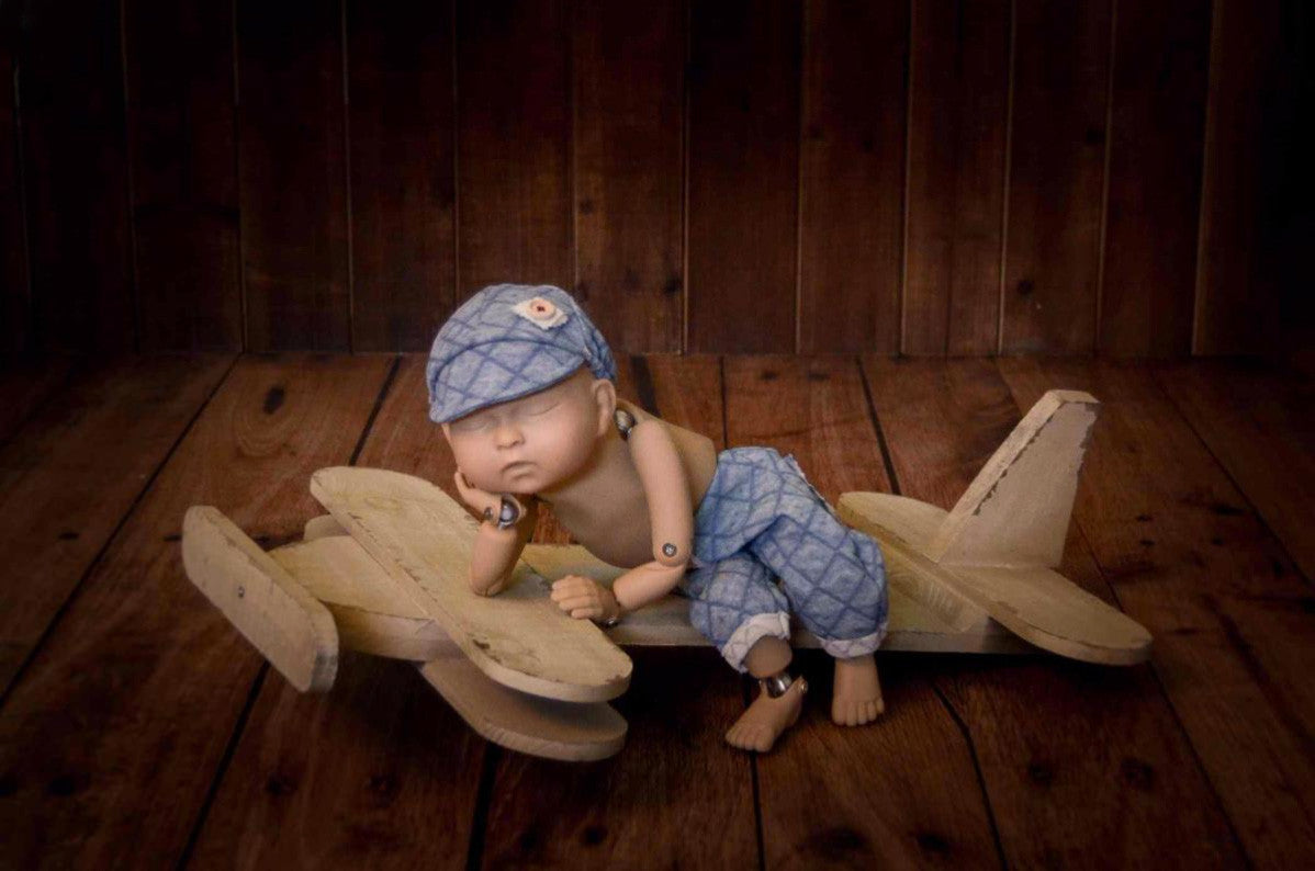 Flat Rustic Airplane - White-Newborn Photography Props