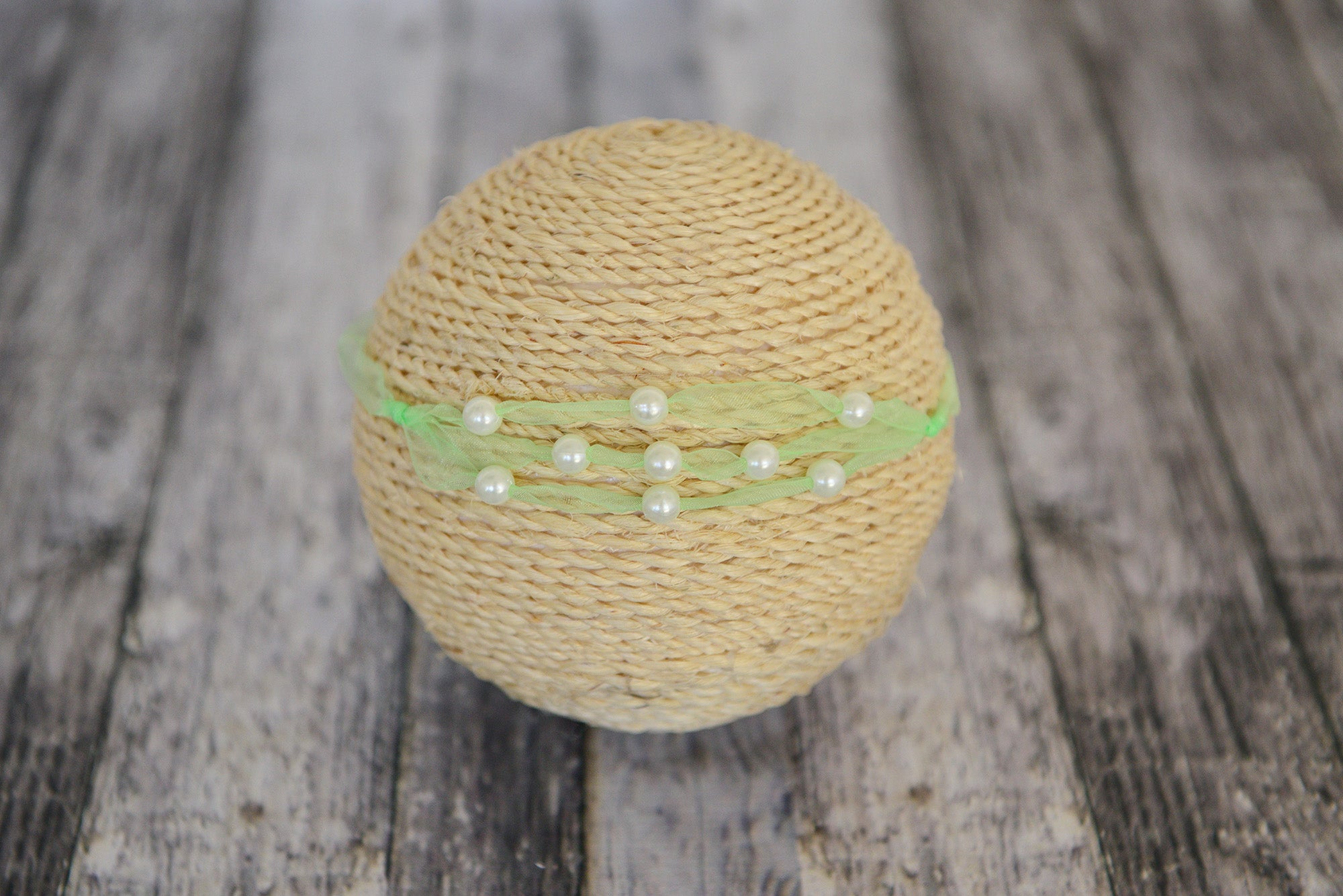 Beaded Ribbon Headband - Light Green
