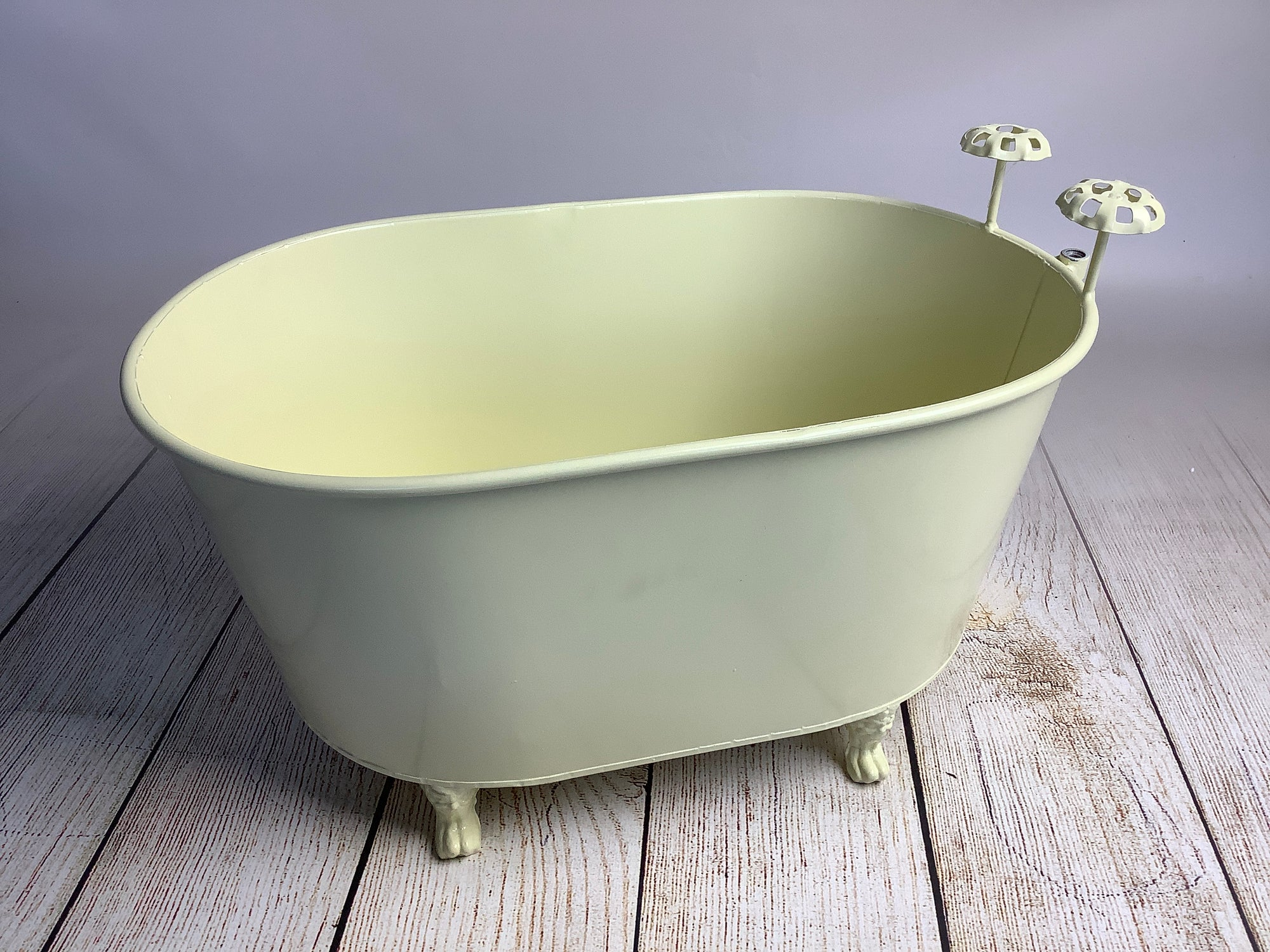 Footed Vintage Bathtub with Gooseneck Faucet - Light Beige (AS IS ITEM)