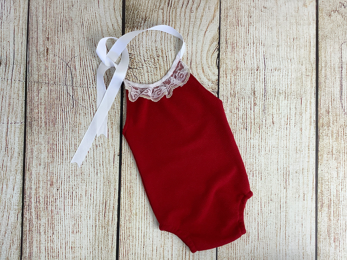 Sleeveless Lace Romper - Textured - Deep Red