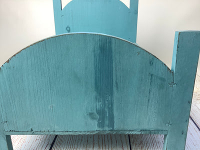 Rustic Bed - Curved Headboard - Greenish Blue (As-Is Item)