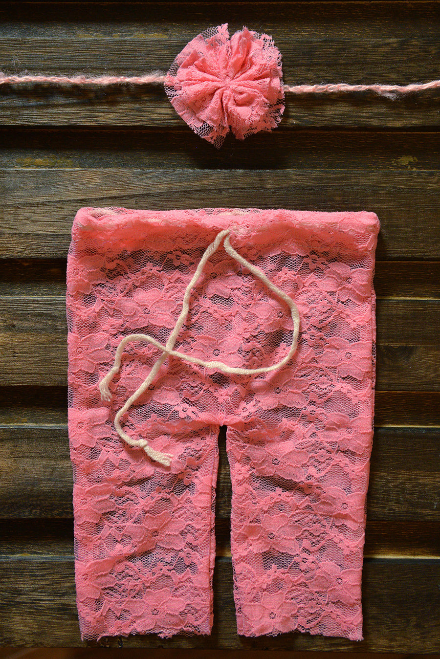 SET Lace Pants and Headband - Pink