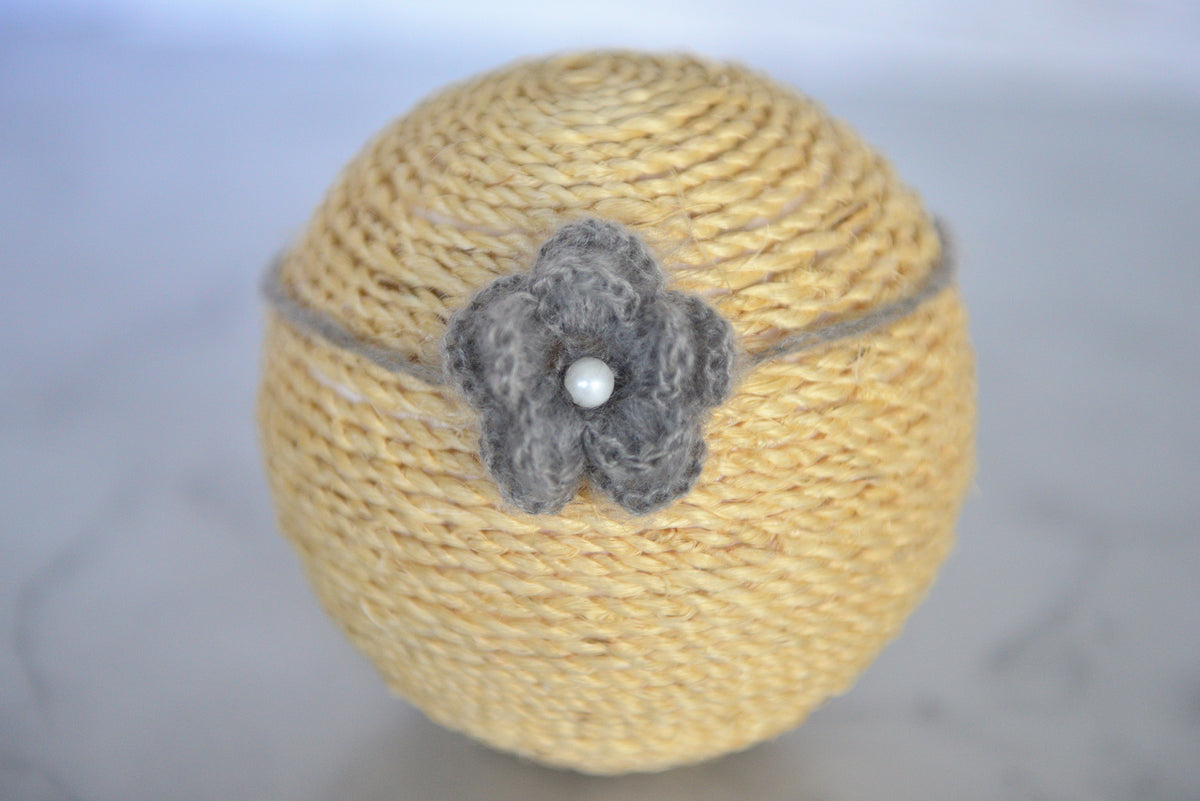 Mohair Flower Headband - Gray
