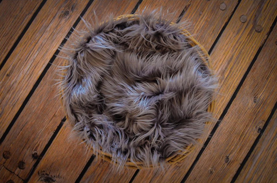 Faux Fur - Dark Gray-Newborn Photography Props