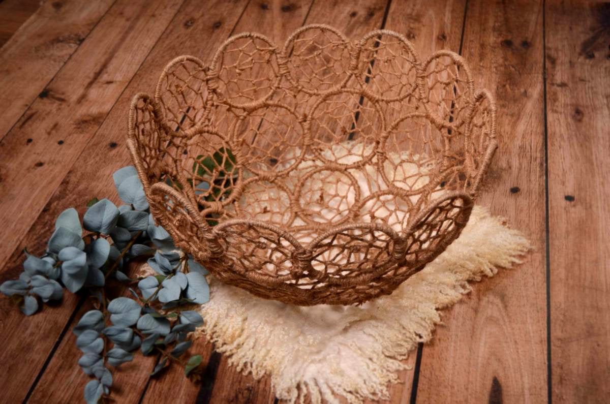 Mesh Bowl - Camel-Newborn Photography Props