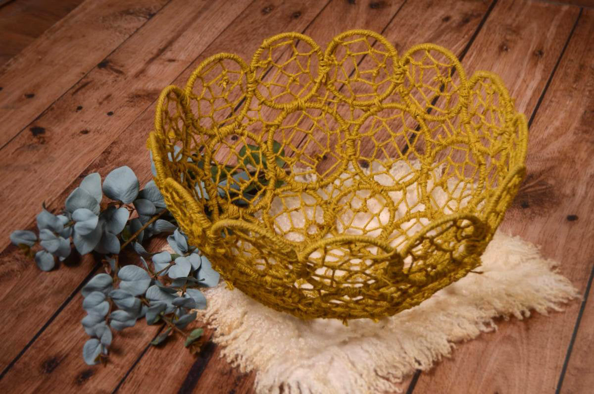 Mesh Bowl - Greenish Yellow-Newborn Photography Props