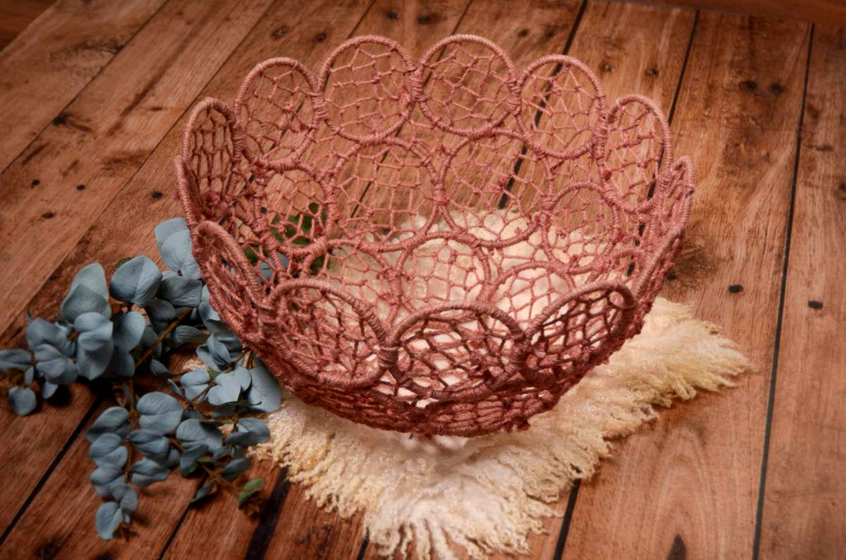 Mesh Bowl - Light Pink-Newborn Photography Props