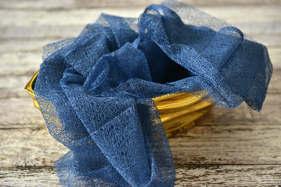 Mesh Lace Baby Wrap - Steel Blue-Newborn Photography Props