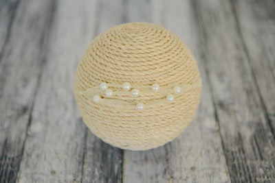 Beaded Ribbon Headband - Milk White